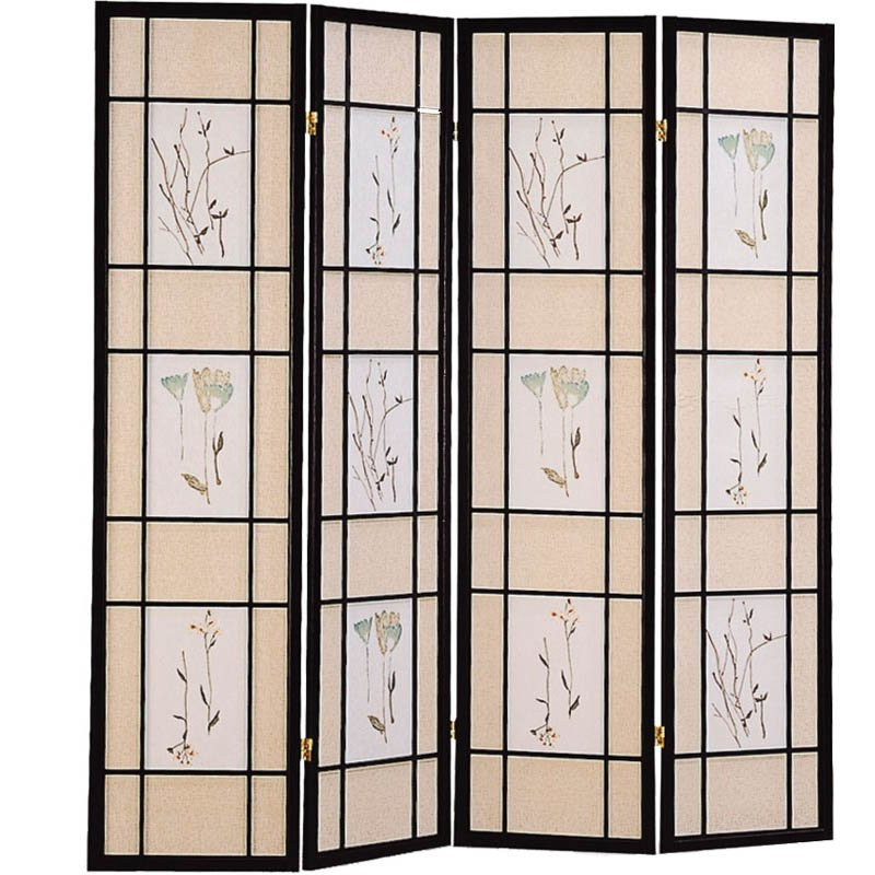 Coaster Room Divider Screen with Floral Print