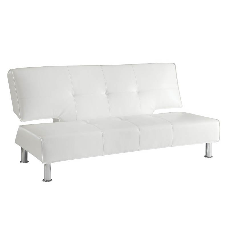 Coaster Silky Leather Convertible Armless Sofa Bed in White