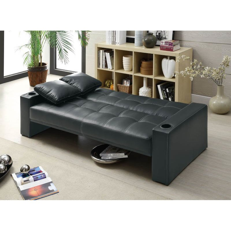 Coaster Sofa Sleeper with Cup Holders in Black