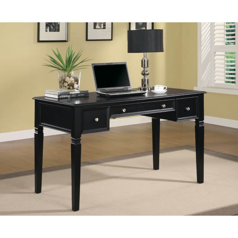 Coaster Table Desk with Keyboard Drawer and Power Outlet in Black