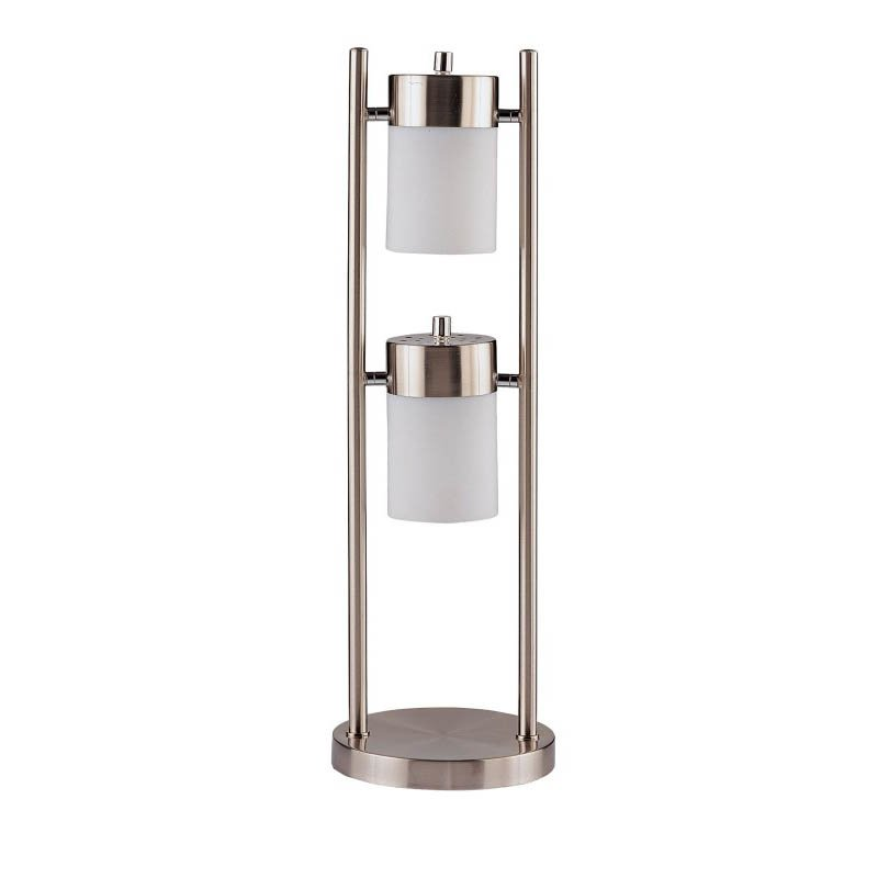 Coaster Table Lamp with White Frosted Shades in Silver