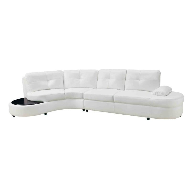 Coaster Talia Bonded Leather Sectional with Table in White