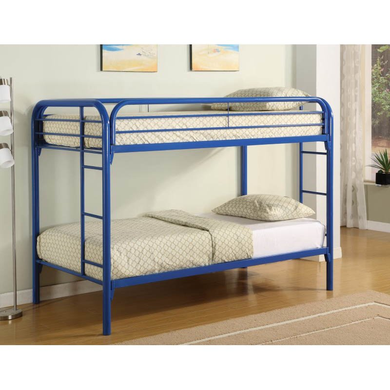 Coaster Toby Twin over Twin Metal Bunk Bed in Blue Finish