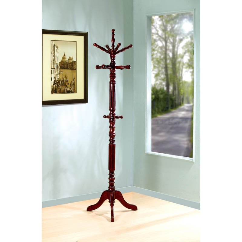 Coaster Traditional Coat Rack with Spinning Top in Dark Walnut