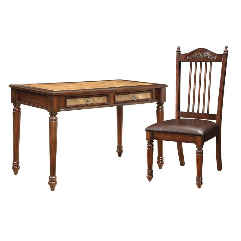 Coaster Traditional Desk and Side Chair in Cherry