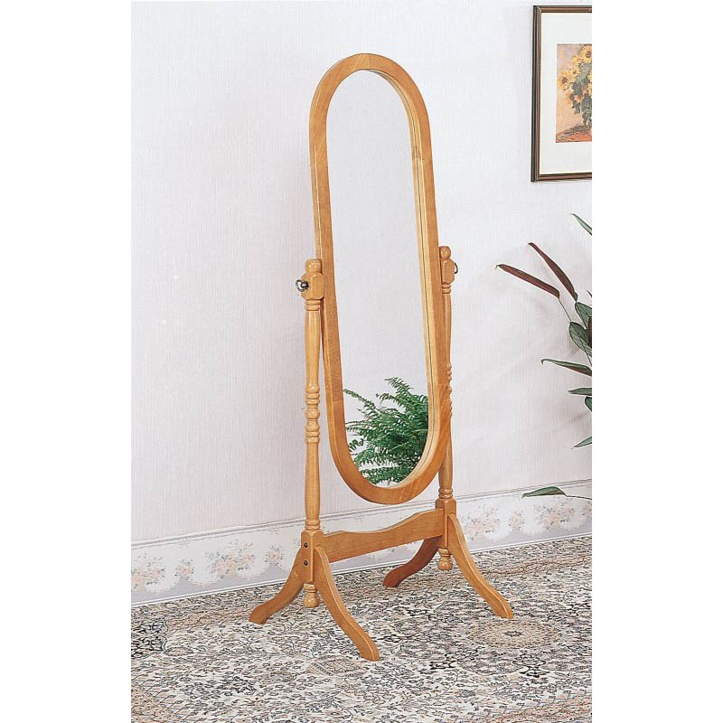 Coaster Traditional Oval Cheval Floor Mirror in Oak