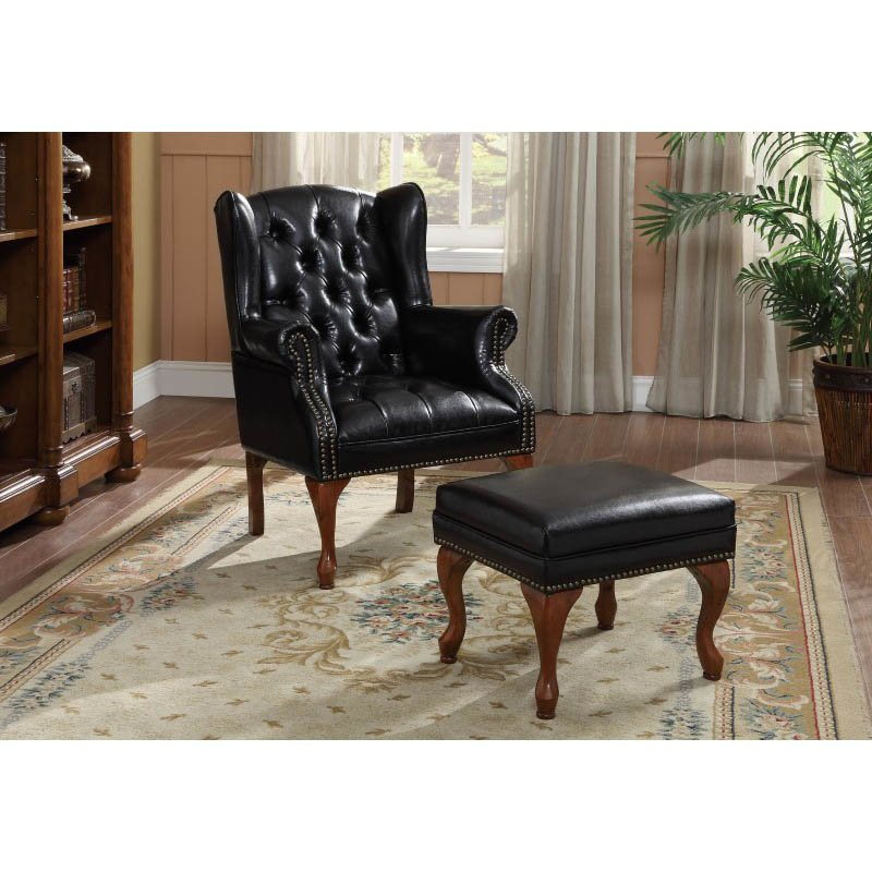 Coaster Traditional Wing Back Tufted Arm Chair and Ottoman in Black