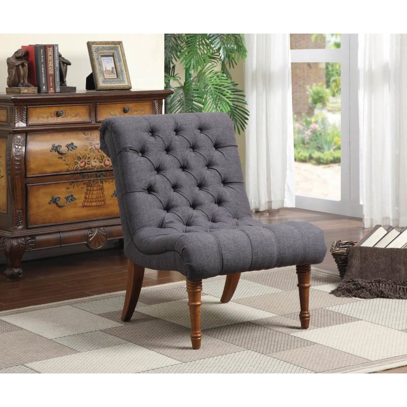 Coaster Tufted Accent Chair in Dark Gray