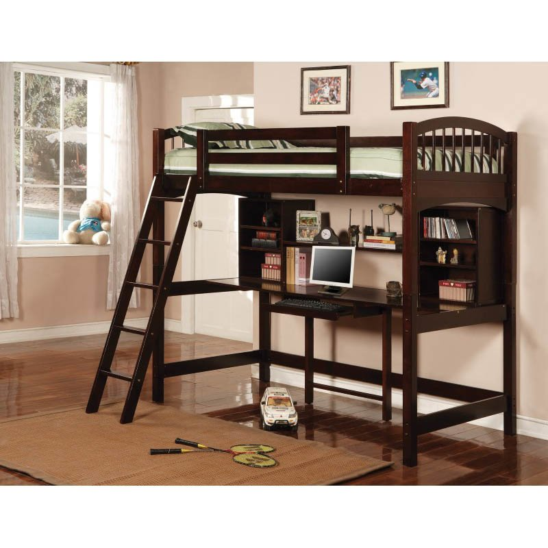 Coaster Twin Wood Loft Bunk Bed with Workstation in Cappuccino Finish
