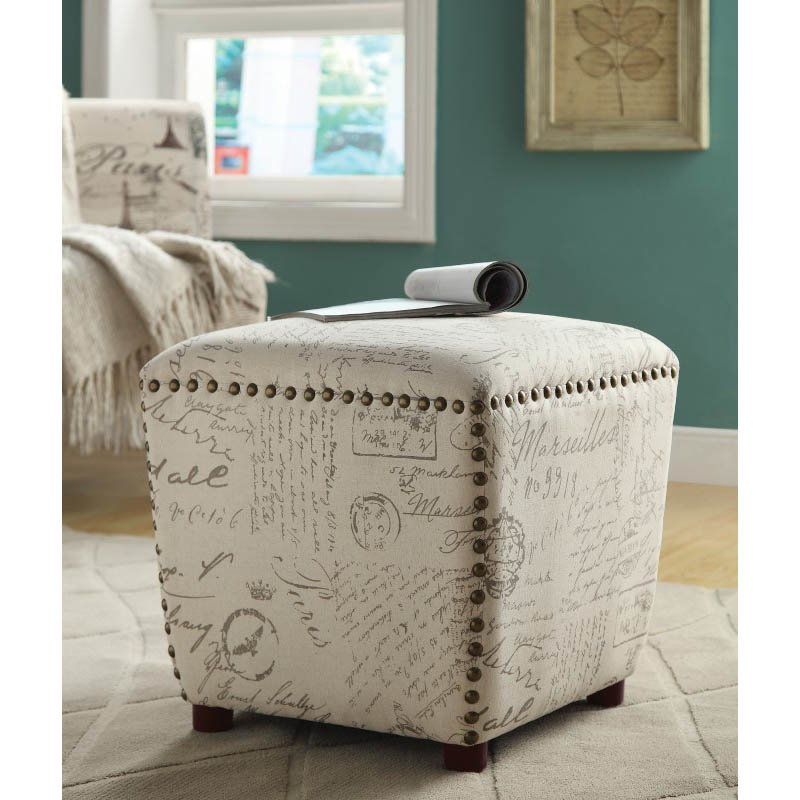 Coaster Upholstered Ottoman in Beige