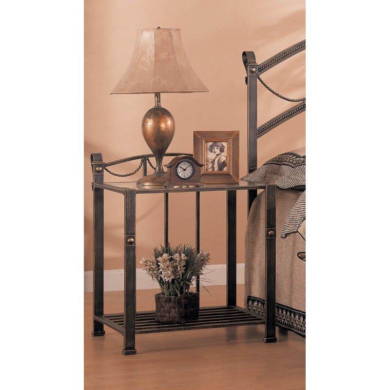 Coaster Whittier Iron Nightstand with Shelf in Antique Brass
