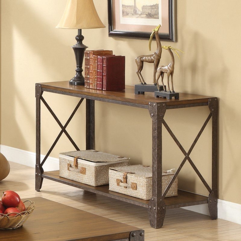 Coaster Wood Sofa Table in Brown
