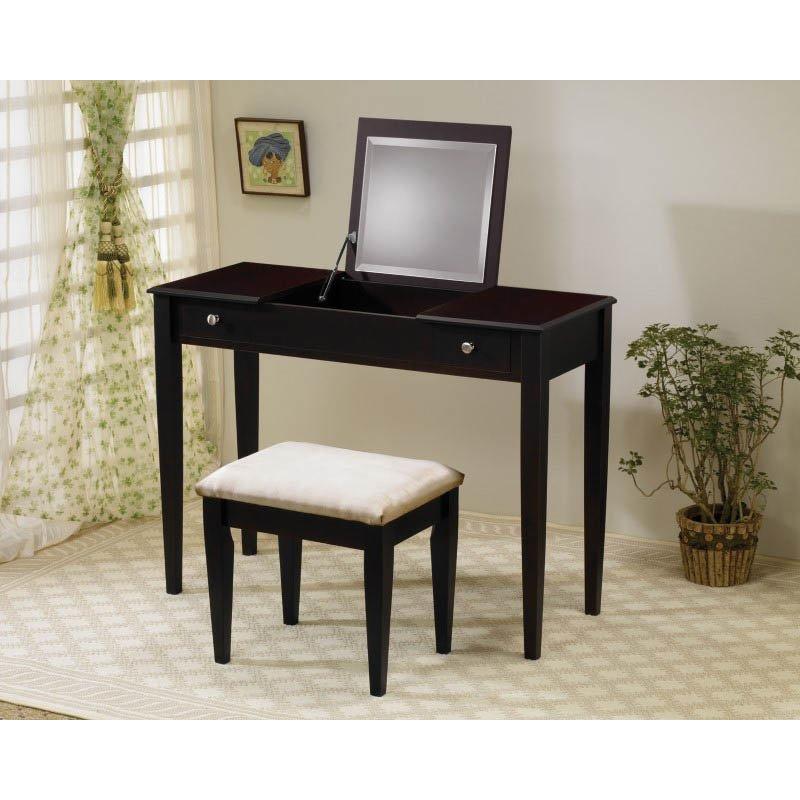 Coaster Wood Two Drawer Makeup Vanity Table Set with Mirror in Dark Brown