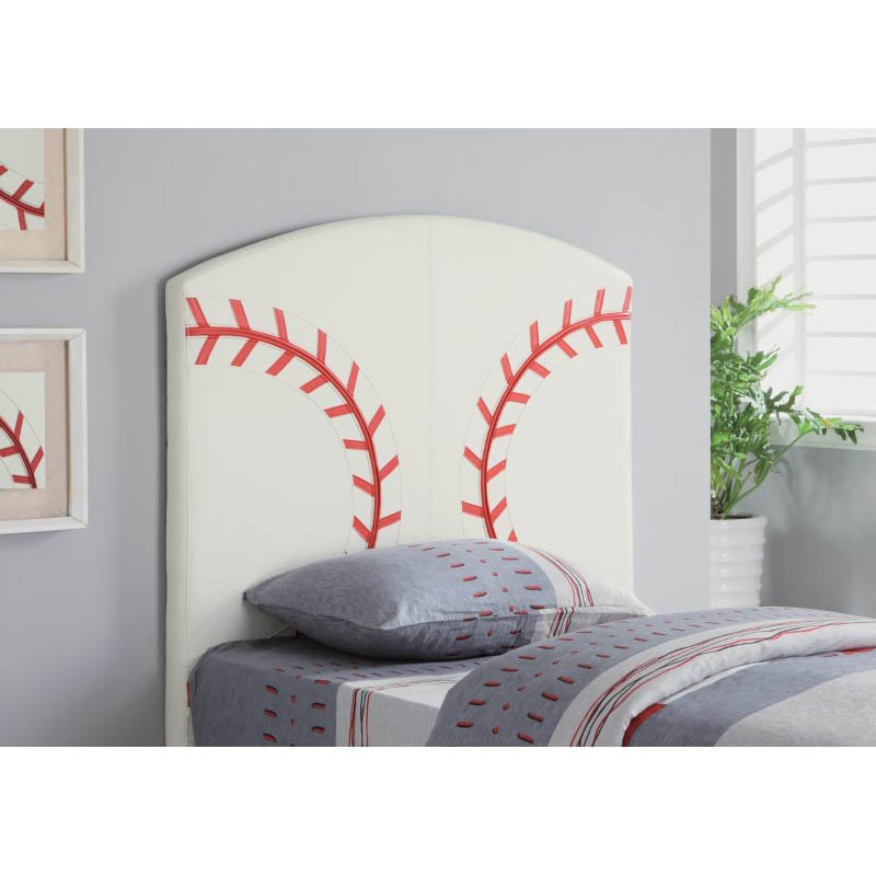 Coaster Youth Headboard Twin Sports Baseball Panel Headboard in White