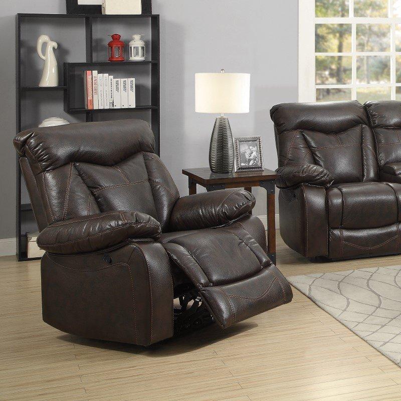 Coaster Zimmerman Leather Motion Recliner in Dark Brown