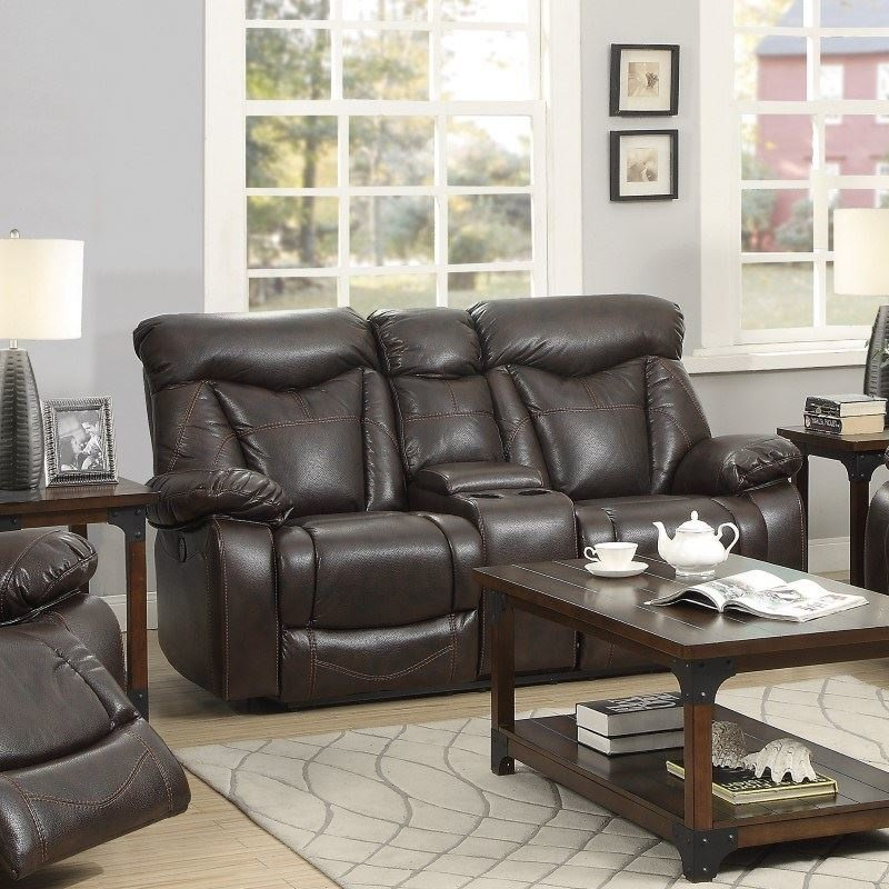 Coaster Zimmerman Leather Motion Reclining Loveseat in Brown