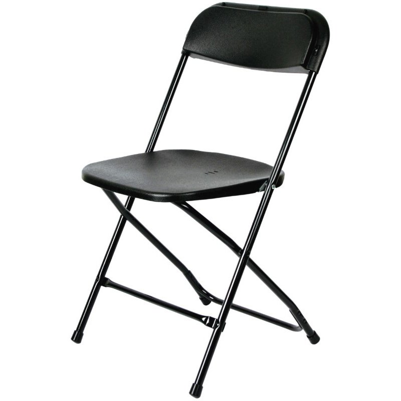 CSP Events Max Black with Black Frame Poly Performance Folding Chair (MP-101-BLACK)