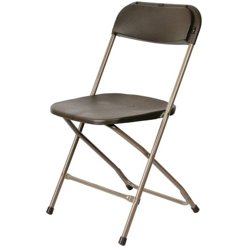 CSP Events Max Brown with Neutral Frame Poly Performance Folding Chair (MP-101-BROWN-NEUTRAL-FRAME)