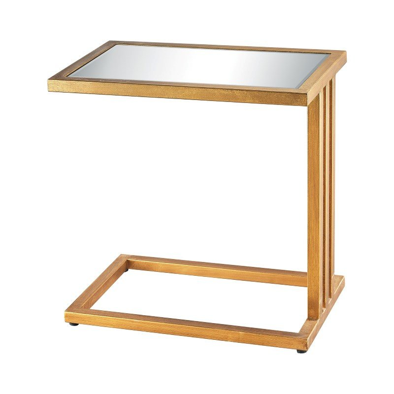 Dimond Home Andy Side Table in Gold Leaf And Clear Mirror (1114-199)