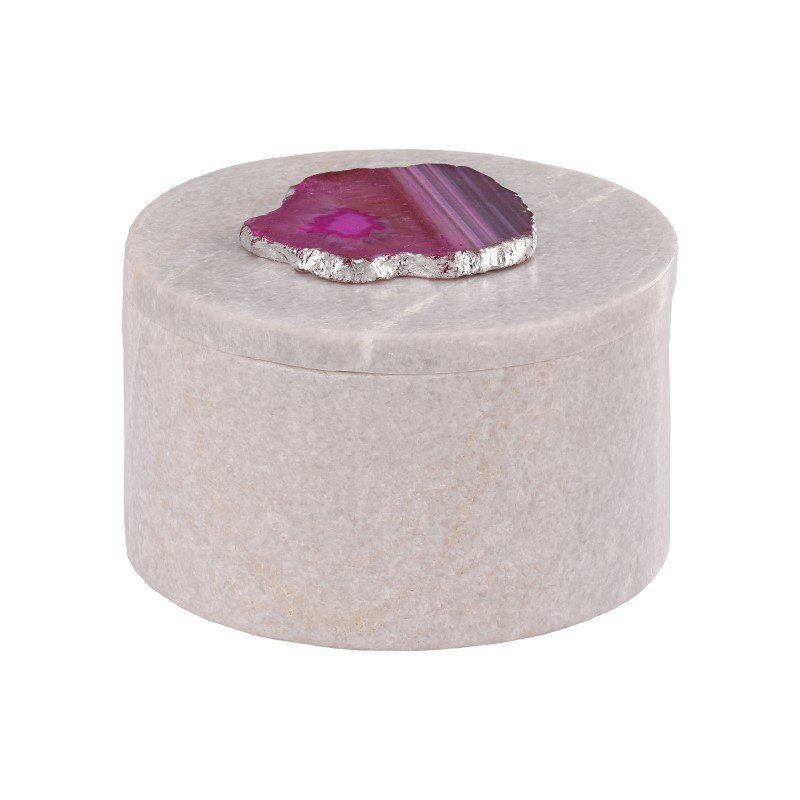 Dimond Home Antilles Round Box in White Marble And Pink Agate (8989-024)