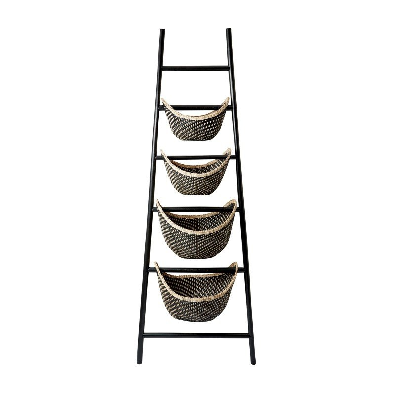 Dimond Home Black Plaid Ladder Basket (797001)