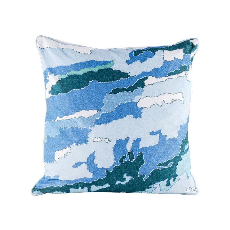 Dimond Home Blue Topography Pillow With Goose Down Insert (8906-006)