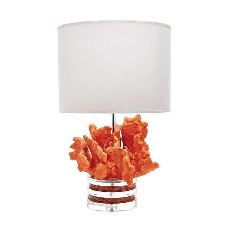 Dimond Home Fire Coral And Crystal Lamp with White Suede Shade (225088)