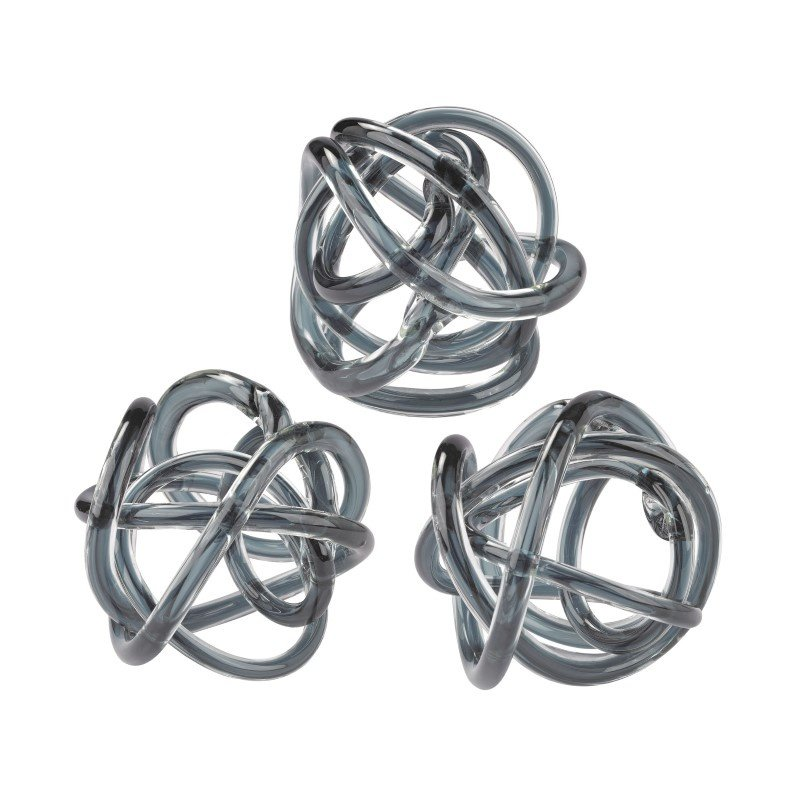 Dimond Home Grey Glass Knots (Set of 3) (154-019/S3)
