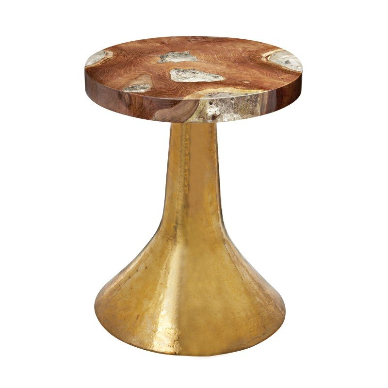 Dimond Home Hammered Decorative Teak Table in Gold (162-004)