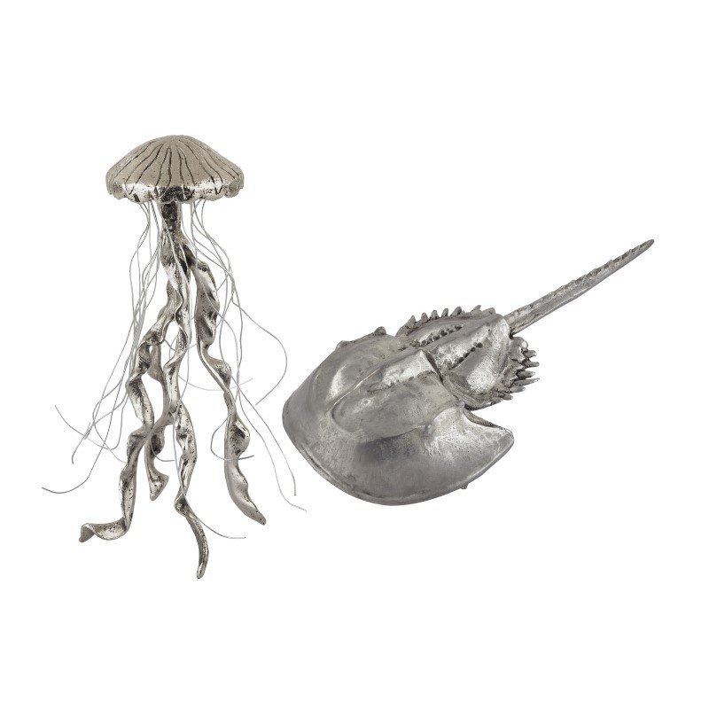 Dimond Home Hand Forged Silver Jelly Fish And Horseshow Crab (Set of 2) (165-002/S2)