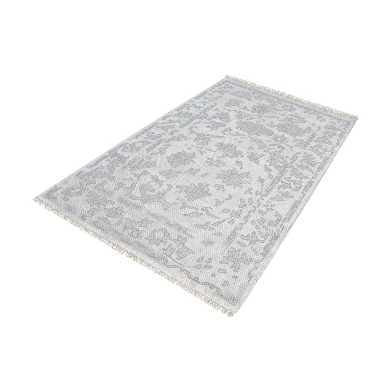 Dimond Home Harappa Handknotted Wool Rug in Silver And Ivory - 5ft x 8ft (8905-281)