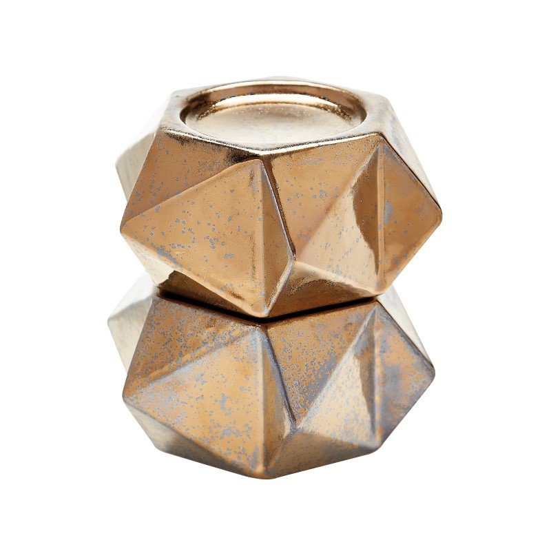 Dimond Home Large Ceramic Star Candle Holders in Gold (Set of 2) (857127/S2)