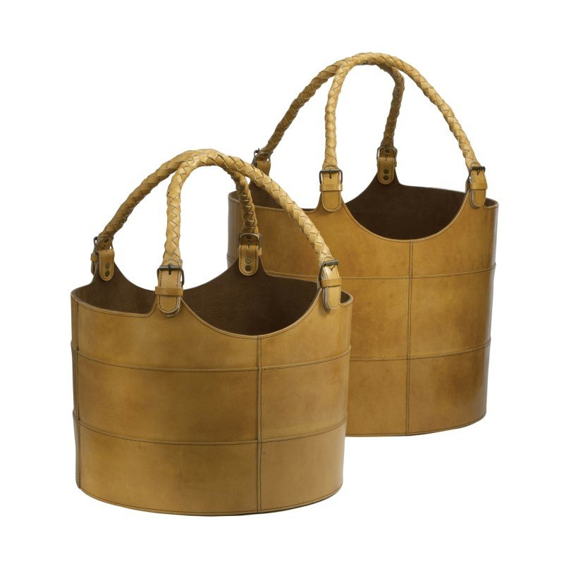 Dimond Home Nested Caramel Leather Buckets (Set of 2) (819005)