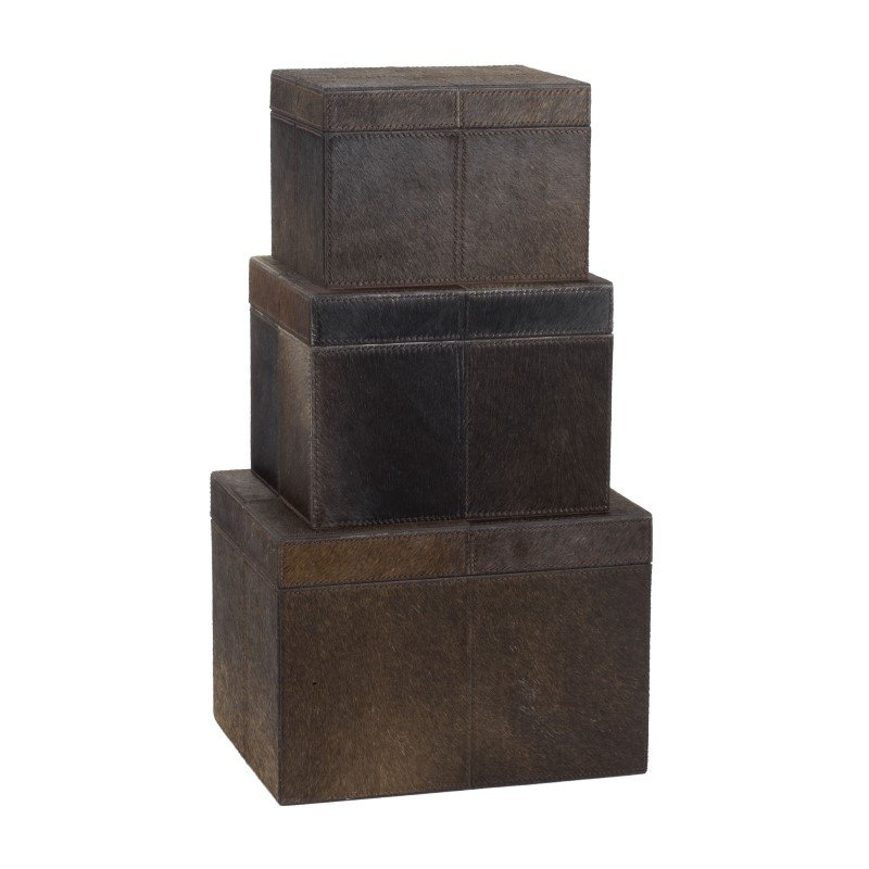 Dimond Home Nested Chestnut Faux Pony Boxes (Set of 3) (284054)