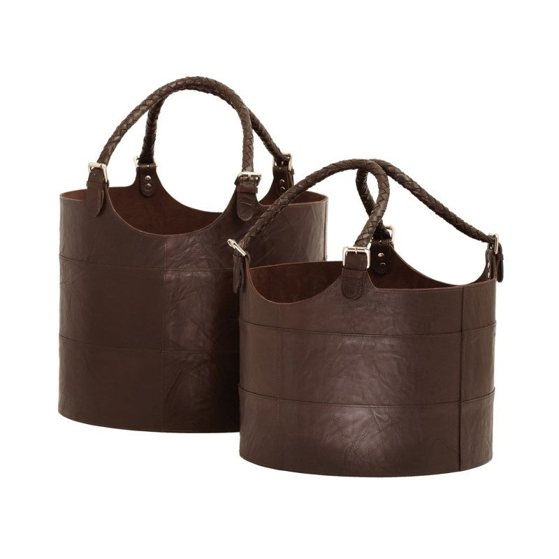 Dimond Home Nested Espresso Leather Buckets (Set of 2) (819007)