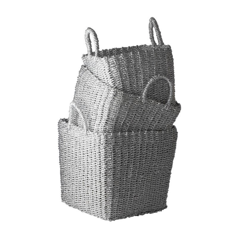 Dimond Home Nested Recycled Twisted Silver Foil Baskets (Set of 3) (784018)