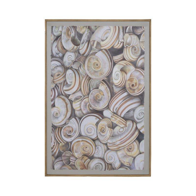 "Dimond Home Nicobar 48"" Hand Painted Canvas Wall Decor with Tan Mahogany Frame (7011-375)"