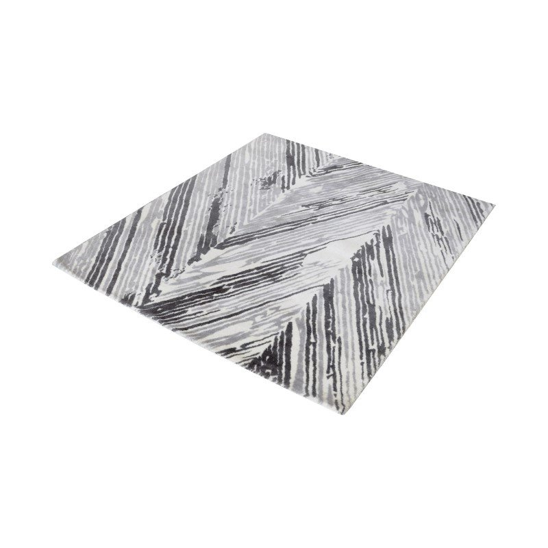 """Dimond Home Rhythm Handwoven Printed Wool Rug in Grey And White - 16"""" Square (8905-063)"""