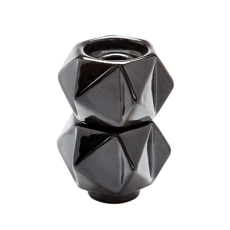 Dimond Home Small Ceramic Star Candle Holders in Black (Set of 2) (857130/S2)