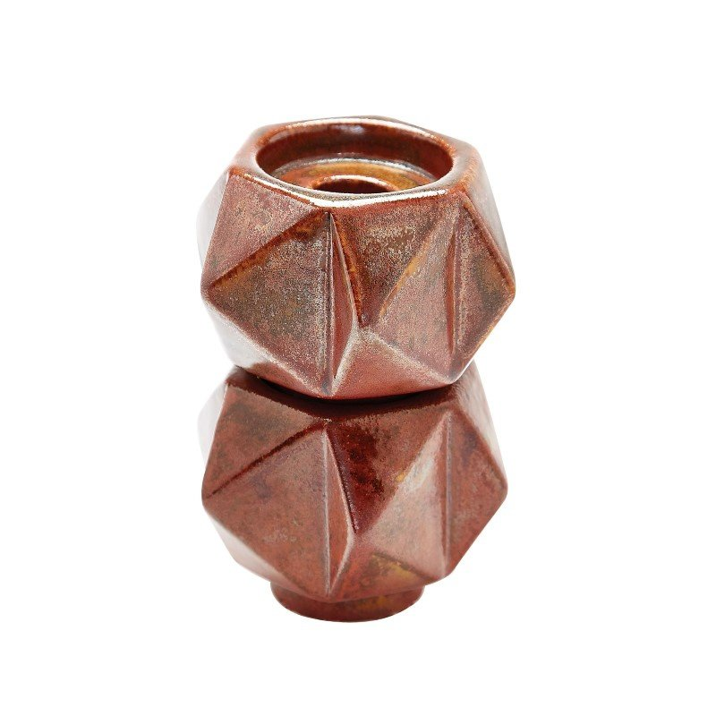 Dimond Home Small Ceramic Star Candle Holders in Russet (Set of 2) (857133/S2)