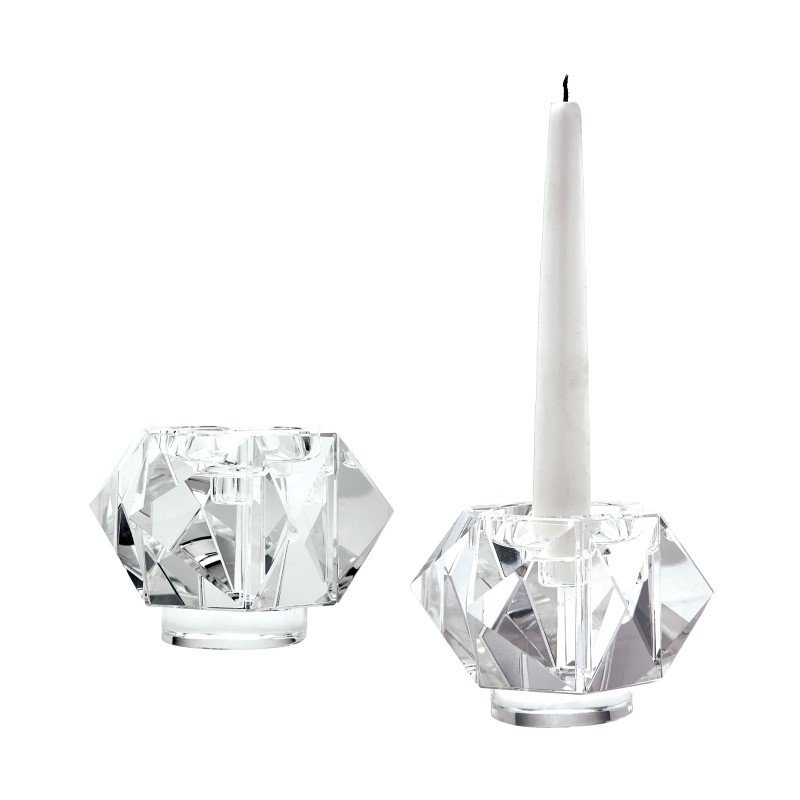Dimond Home Small Faceted Star Crystal Candleholders (Set of 2) (980010/S2)