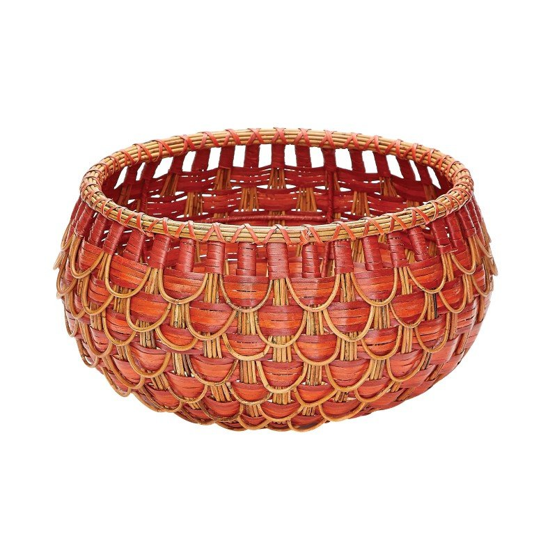 Dimond Home Small Fish Scale Basket in Red And Orange (466051)