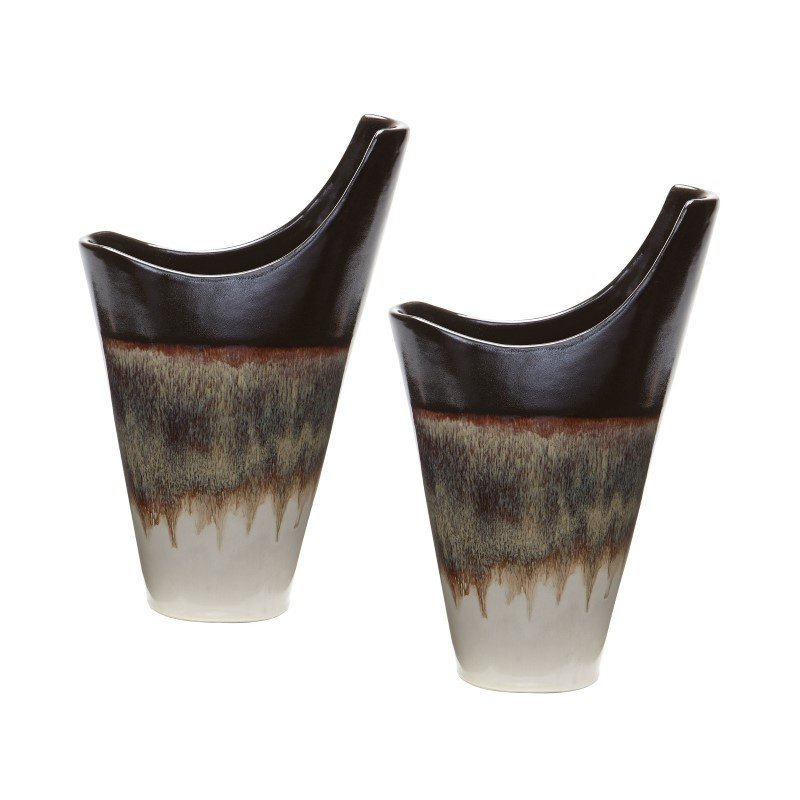Dimond Home Small Reaction Vases in Cascade Mocha (Set of 2) (857109/S2)