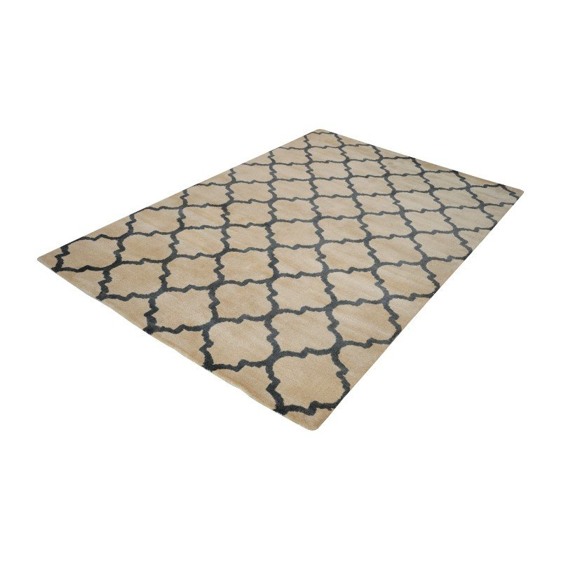 Dimond Home Wego Handwoven Printed Wool Rug in Natural And Black - 5ft x 8ft (8905-051)