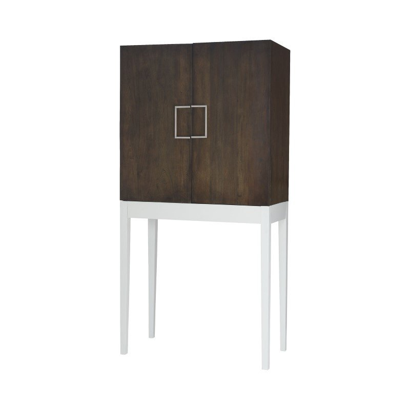 """Dimond Home West End Heritage Grey Stain with Grain De Bois Cappucino Foam 72"""" Mahogany Bar Cabinet with Metal Pulls (7011-227)"""