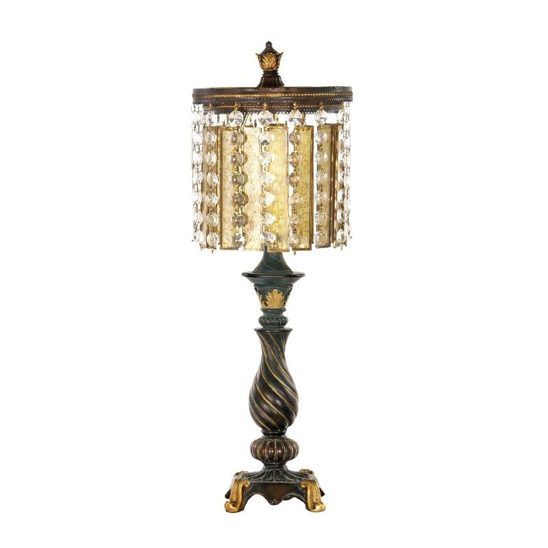 Dimond Lighting Amber & Crystal Table Lamp in Gold Leaf and Black (93-090)
