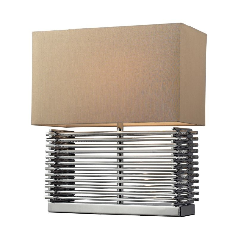 Dimond Lighting Andros Slatted Table Lamp In Chrome With Light Beige Shade (D2205)