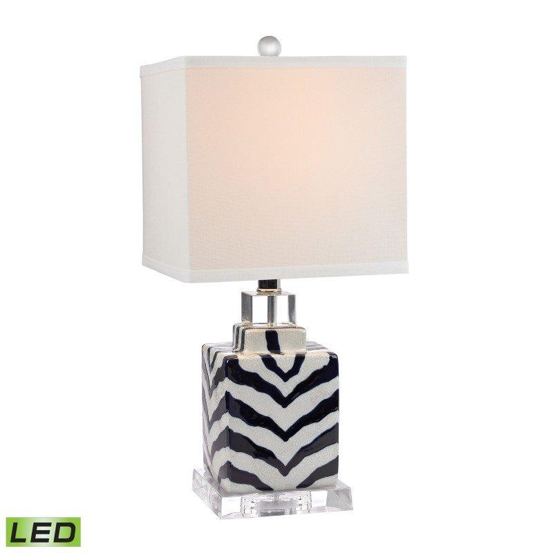 Dimond Lighting Animal Print LED Table Lamp in Navy and White Ceramic (D2638-LED)