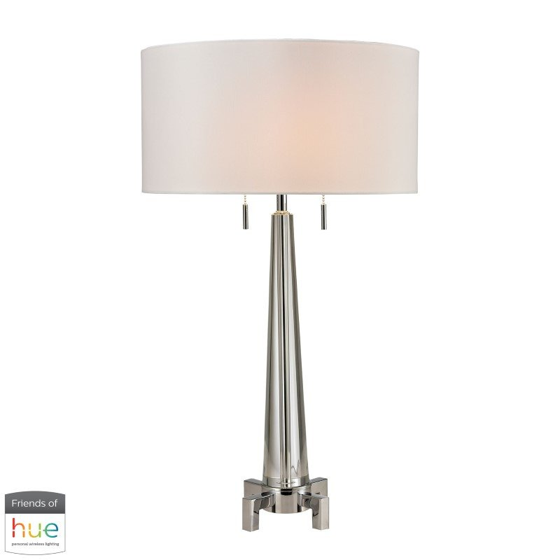 Dimond Lighting Bedford Solid Crystal Table Lamp in Polished Chrome with Philips Hue LED Bulb/Bridge (D2681-HUE-B)
