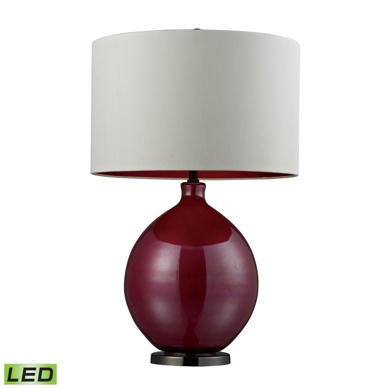 Dimond Lighting Blown Glass LED Table Lamp in Cerise Pink and Black Nickel (D268-LED)